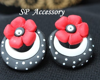 Earrings Flower on circle, sweet earrings, earrings clay, jewelry earrings