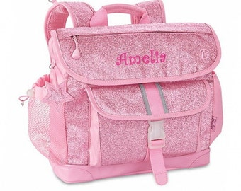 "Personalized Bixbee ""Sparkalicious"" Glitter Backpack - Pink (Large)"