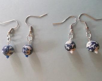 Beautiful blue china like dangle beaded earrings