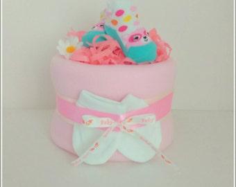 Nappy cake single tier baby shower baby gift newborn baby girl pink gift diaper cake