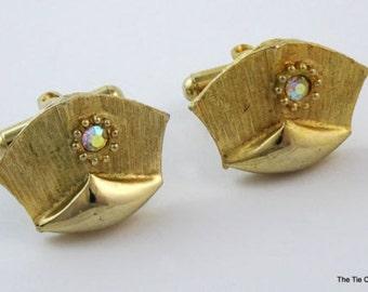 Vintage Cufflinks Unusual Shape Gold Tone Aurora Borealis AB Cuff Links
