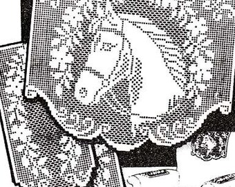PDF Filet Crochet Pattern HORSE with GARLAND Vintage Chair Set Instant Download