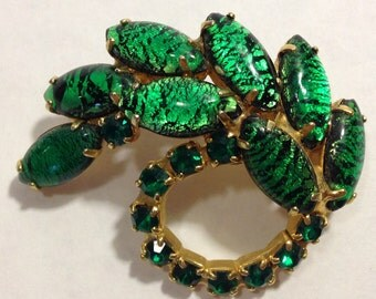 Green Pin,Green Brooch,Green Rhinestone Pin,Green Designer Pin,Emerald Green Pin,Leaf Brooch,Green Swirl Brooch,Green Abstract Pin,Leaf Pin