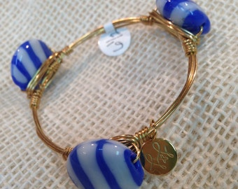 Blue and White Striped Bangle - Child Size