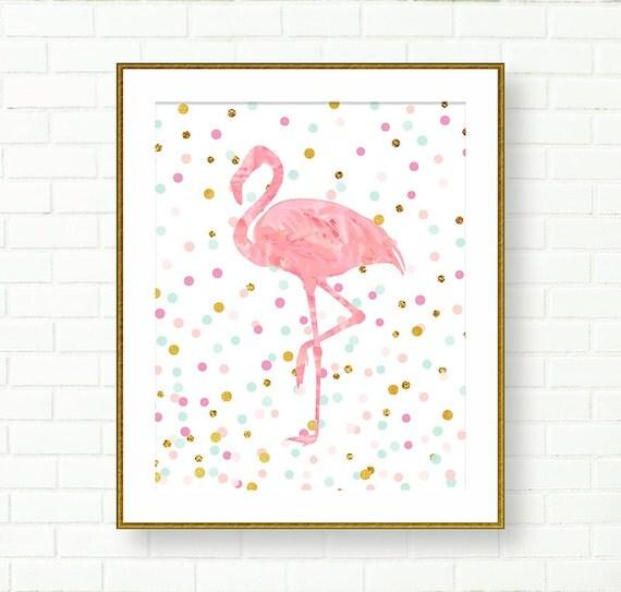 Printable nursery art baby girl nursery prints flamingo for Room decor printables