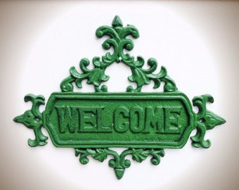 BOLD leafy Kelly green large floral ornate welcome sign // vintage inspired spring garden decor // feminine shabby cottage chic