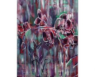 Abstract orchids and bamboo  - PRINT