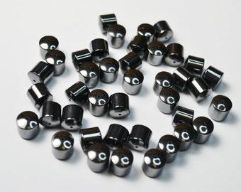 Shiny Metallic Hematite Drum Beads.  Lot 129