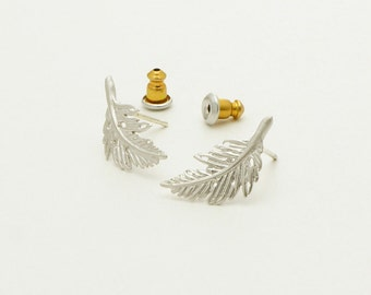 Silver Leaf earrings, Everyday earrings,