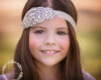 Baby headband, flower girl headband, crystal headband,bridal headband, baby headbands, baby girl headband, baptism headband, baby hair bows.
