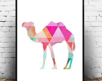 Nursery Art, Camel Print, Printable Art, Geometric Camel,  Nursery Print, Modern Wall Art,  Nursery decor,  Instant Download