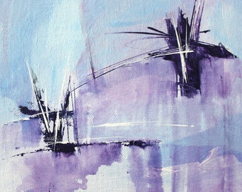 Purple painting Abstract painting 20x20cm, Acrylic on canvas board, Contemporary wall art, Modern Artwork, Landscape painting, Painting, art