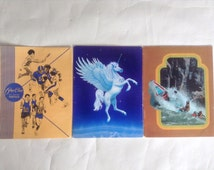 3 Vintage 70's & 80's Pee Chee School Folders Unicorn Pegasus by Mead and 70's Sports Illustrated White Water Rafting
