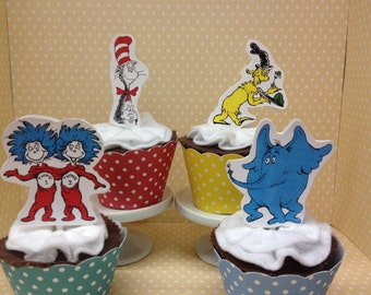 Dr Seuss Party Cupcake Topper Decorations - Set of 10