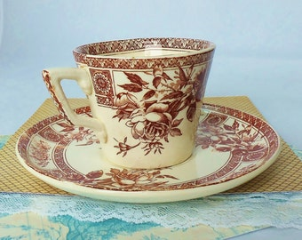 Antique Aesthetic Movement Brown and WhiteTransferware Demitasse Cup, Saucer - L.S. and S. Pottery, England - Garfield Pattern, 1885-1900
