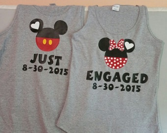 Just Engaged Mickey and Minnie Custom Shirts