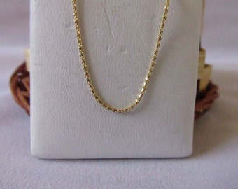 14K Solid Yellow Gold Wheat Chain
