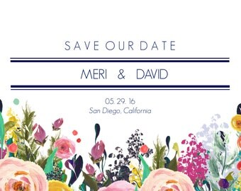 Modern Floral Save The Date Card, Simple Floral Save The Date Card, Floral Save The Date, Save Our Date Card