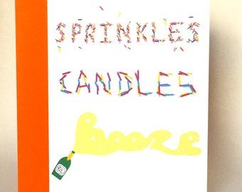 Funny Birthday Card, Birthday Card, typography, typography card, Friend card, Friend Birthday card, sprinkles, champagne, C-029