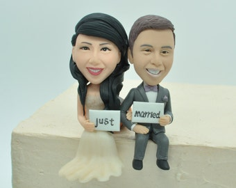Just married topper ,Wedding cake topper ,Sitting on Edge of Cake ,engagement topper