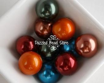 20mm acrylic pearl FALL MIX beads - chunky