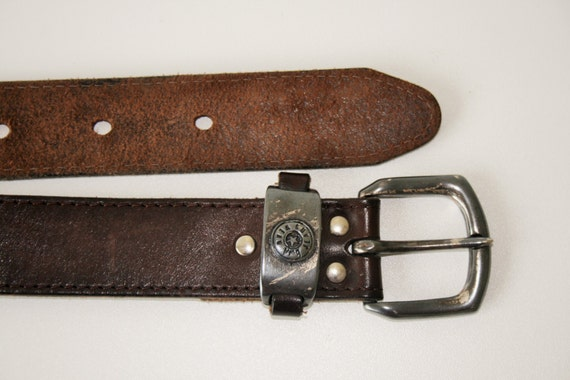 tooled leather belt with buckle thick cognac by becausevintage
