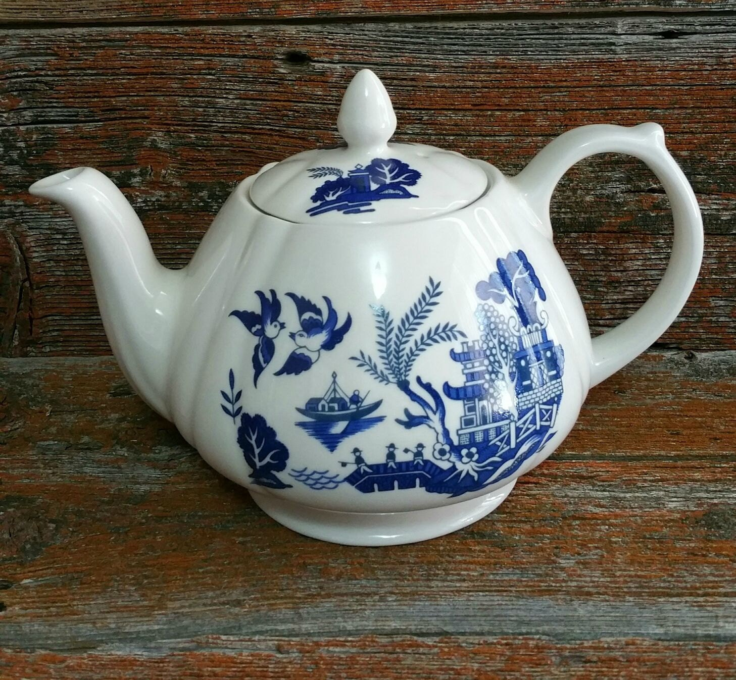 Vintage Royal Oak Blue Willow Teapot Blue And White