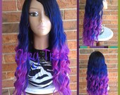 "ON SALE // Custom 22"" Long Beach Wavy Mermaid Full Wig, Ombre Blue/Purple Wig, 100% Brazilian Human Hair Blend // BRILLIANT (Free Shipping)"