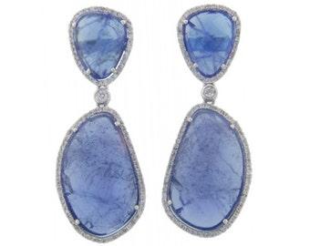 26.20 carat Tanzanite and 0.80 carat Diamond Drop Earrings 14k White Gold