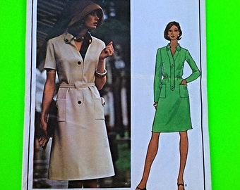 """70s Designer DRESS, Size 16, Bust 38"""", UNCUT, F/F, Vogue Paris Original Molyneux 2935."""