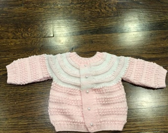 hand knit blush pink sweater with white accent 0-3 months
