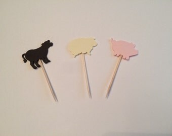 24 farm animals theme toothpicks, farm theme baby shower, birthday party, farm theme party, appetizer picks, food picks, cupcake toppers