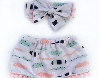 Feather and Pom Pom skirt set