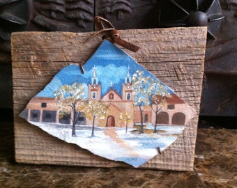 Authentic Painting on Clay Tile Mounted on Old Wood Signed M.Gay