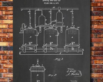 Brewing Beer and Ale Patent Print Art 1873