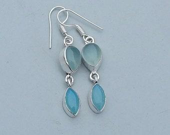 Amazing Designer Aquamarine, Chalcedony Gemstone 925 silver Dangle Earrings Jewelry, Birthstone Statment Earrings, Gift Idea