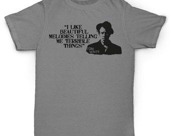 Quote Tom Waits T Shirt Vintage Rock Blues Soul 60's 70's Jazz Piano