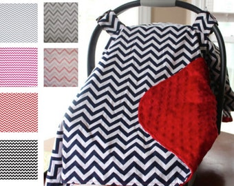 Custom Personalized Minky Carseat Canopy, Carseat Cover, Car Seat Canopy- Chevron, Red, Navy, Grey, Pink, Fuchsia, Black