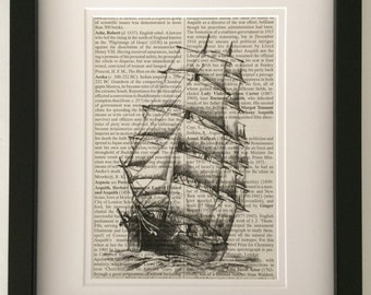 SAILING SHIP - Dictionary Book Page Print - Recycled Vintage Book Page, Home Decor, Poster, Art