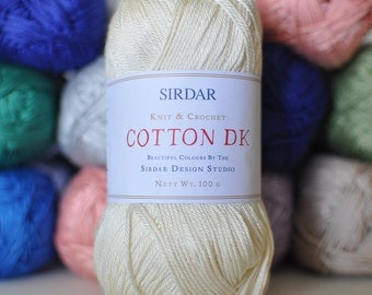 Lot of 3, Sirdar DK Cotton Yarn,  Vanilla,  I will mix and match colors if requested.