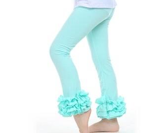 Ruffle leggings, Cotton Ruffle Leggings,  Ruffled leggings, girls ruffled pants, icing leggings, ruffled pants, double ruffle pants, girls