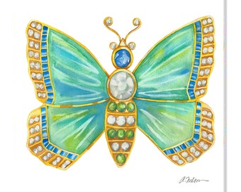 Butterfly Brooch Watercolor Rendering in Yellow Gold with Opals, Diamonds, Sapphires, and Emeralds printed on Canvas