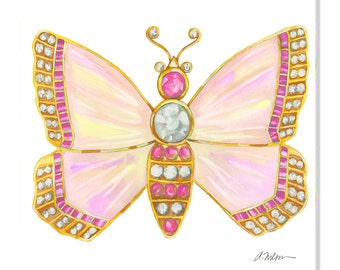Butterfly Brooch Watercolor Rendering in Yellow Gold with Opals, Pink Sapphires, and Diamonds printed on Canvas
