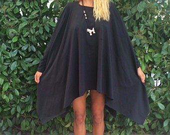 New Black Cotton Asymmetrical Tunic, Plus Size Tunic, Extravagant Top, Maxi Top, Casual Tunic, Loose Sweater by SSDfashion