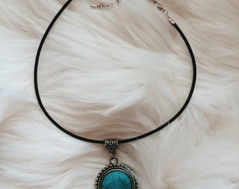 leather choker // turquoise pendant