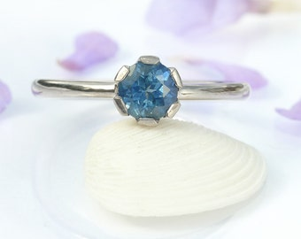 Eco Blue Sapphire Engagement Ring in 18k Gold, Handmade to Size