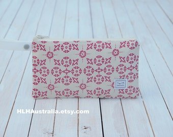Small Wet Bag. Cosmetic Bag. Makeup Bag. Toiletry Bag. Happy Little Handmades.  Raspberry Cream