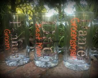Camo Beer Mug ~ Camouflage Gift ~ Groomsman ~ Best Man ~ Groom Gift ~ Glass Beer Mug ~ Wedding Party Gift ~ Personalized Monogrammed