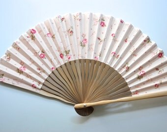 Fabric Rose Pink Hand Fan with sleeve -Handheld Folding Fan, Japanese Hand Fan,Japanese folding fan,fabric hand fan,pink hand fan