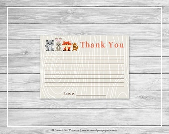 Woodland Animals Baby Shower Thank You Cards - Printable Baby Shower Thank You Cards - Woodland Animals Baby Shower - Thank You Card - SP105